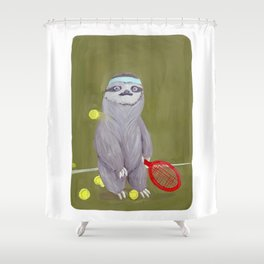 Sloths Are Bad At Things- Kevin the Tennis Star Shower Curtain