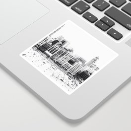 Woodward Avenue Downtown Detroit Black and White Print Sticker