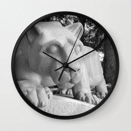 Penn State University Nittany Lion Statue Black White Side Wall Clock