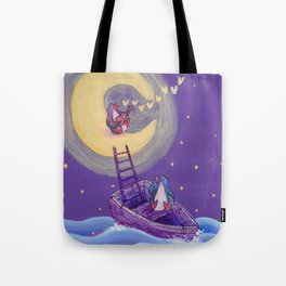 Penguin's Ladder Connects Boat to the Moon and the Singing Penguin Tote Bag