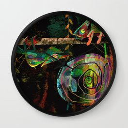 Colorful Chameleons Wall Clock