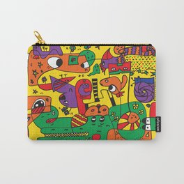 Yellow Doodle Monster World Carry-All Pouch
