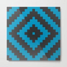 Traditional boho Aztec diamond cyan, black Metal Print