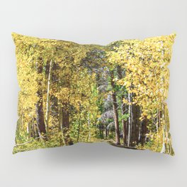 Yellow Tree Road // Hiking in the Forest Deep Into Autumn Colorful Trees Pillow Sham