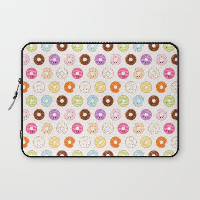 Happy Cute Donuts Pattern Laptop Sleeve