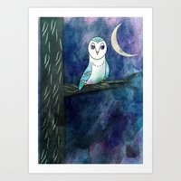 The Owl at Night Art Print
