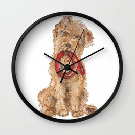 Wired Hair Terrier Ready for Walkies  Wall Clock