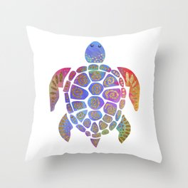 Sea Turtle - Colorful & Gold Throw Pillow
