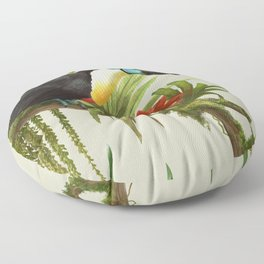 Channel- billed toucan vintage illustration. Floor Pillow