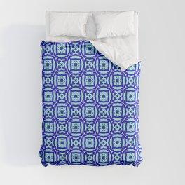 Ninja Stars Blue and Light Blue Doodle Pattern Duvet Cover