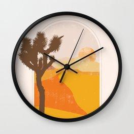 Minimalist Desert Joshua Tree Sand Dune Landscape Illustration Wall Clock
