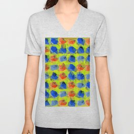 geometric polygon abstract pattern in yellow blue orange Unisex V-Neck