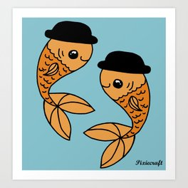 Original Goldfish in Bowler Hats Digital Illustration. Art Print