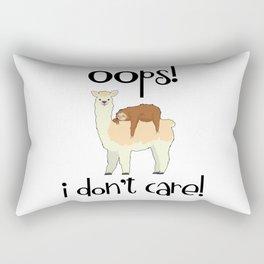 I Don't Care Sloth Llama Lover Sarcasm Sarcastic Misanthrope Rectangular Pillow
