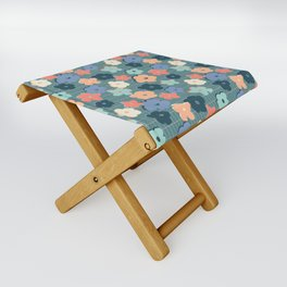 Peach and Aqua Flower Grid Folding Stool