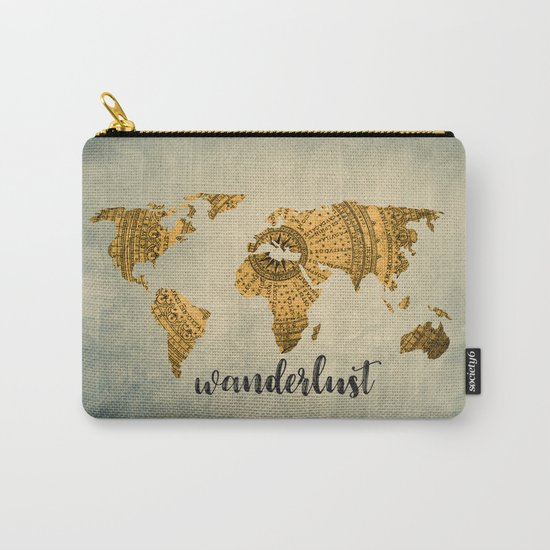 Wanderlust Vintage World Map Carry-All Pouch