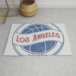 Los Angeles basketball white vintage logo Rug