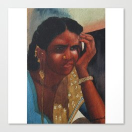 Thinking Deep, Indian Women - in Watercolor Canvas Print