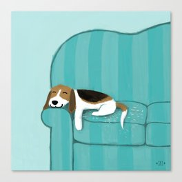 Happy Couch Beagle Canvas Print