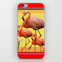 SURREAL FLAMINGOS CALLA LILIES RED ART iPhone Skin