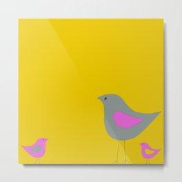 Simple Vector Birds- Yellow Metal Print