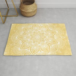 Mandala, Yoga Love, Yellow Flower of Life, Wall Art Boho Rug