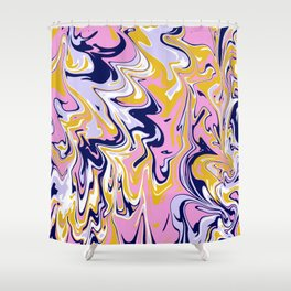 pink, navy & gold marble Shower Curtain
