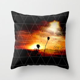 Stay Gold Sunset Digital Manipulation Throw Pillow