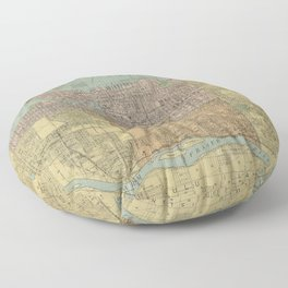 Vintage Map of Vancouver Canada (1920) Floor Pillow