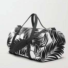Palm Frond Tropical Décor Leaf Pattern Black on White Duffle Bag