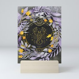 Scorpio - Lilac & Yellow Mini Art Print