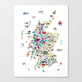 Animal Map of Scotland for children and kids Canvas Print