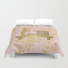 Live Your Dream Golden Gymnastics Graphic Design Duvet Cover
