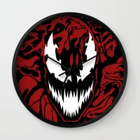 carnage Wall Clocks featuring carnage by Rebecca McGoran