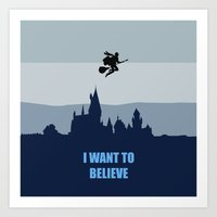 i want to believe Art Prints featuring I Want To Believe by aleha
