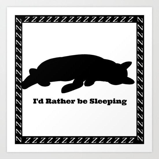 Cat nap w/border Art Print