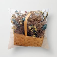 Mothers Basket of Lovely Flowers Throw Pillow