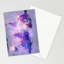 world map galaxy Stationery Cards