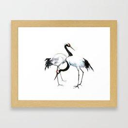 Japanese Cranes, Asian ink Crane bird artwork design Framed Art Print