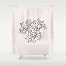 Daisy flowers line drawing - Nina I Shower Curtain