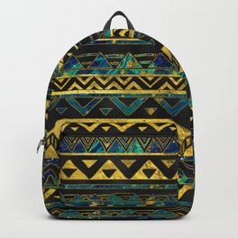 Gold and Teal Marble Tribal Boho Ethnic  Pattern Backpack