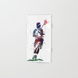 Lacrosse player art 2 Hand & Bath Towel