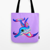 dolphin Tote Bags featuring dolphin by giol's