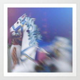 Carousel in the amusement park Art Print
