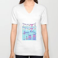 happy birthday V-neck T-shirts featuring Happy Birthday by KarenHarveyCox