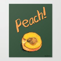 peach Canvas Prints featuring Peach by Ken Coleman