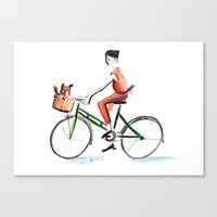 cycling Canvas Prints featuring Cycling by Kate Alizadeh