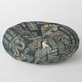 Egyptian hieroglyphs and deities -Abalone and gold Floor Pillow