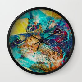 The Dingo wonderdog dreams (Dog Portrait) Wall Clock