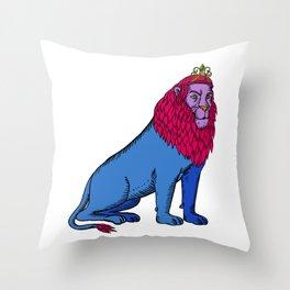 Blue Lion Sitting Wearing Tiara Crown Etching Throw Pillow